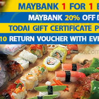 Todai 1-for-1 Buffet For Maybank Cardmembers 7 - 20 Sep 2015