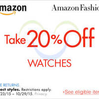 Read more about Amazon.com 20% OFF Watches (NO Min Spend) Coupon Code 24 - 30 Oct 2015