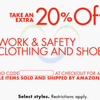 Read more about Amazon.com 20% OFF Work & Safety Clothing & Shoes (NO Min Spend) Coupon Code 3 - 15 Oct 2015