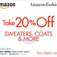 Read more about Amazon.com 20% OFF Sweaters, Coats & More (NO Min Spend) Coupon Code 14 - 24 Oct 2015