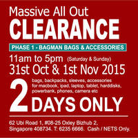 Read more about Bagman Bags Annual Warehouse Clearance Sale 31 Oct - 1 Nov 2015