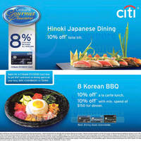 Read more about Hinoki Japanese Dining & 8 Korean BBQ 10% Off For Citibank Cardmembers 11 Oct 2015