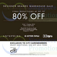 Read more about Anteprima, G-Star Raw & 33 Thirty Three Warehouse Sale 10 - 11 Oct 2015
