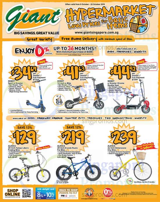 Mobot Sport e-Scooter, Mobot 12 inch e-Bike, Mobot e-Scooter Xtreme Double Seat, Aleoca 20 inch Tempo Libero Folding Bike, Aleoca 20 inch Grande Ruoto Fat Bike, Aleoca 24 inch Dimensione