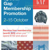 Read more about Gap Spend $150 & Get Free Membership Promotion 2 - 15 Oct 2015