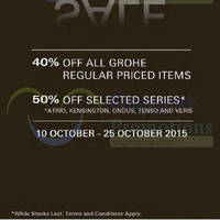 Read more about Grohe 40% Off Promotion 10 - 25 Oct 2015