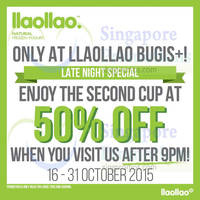 Read more about llaollao Second Cup at 50% Off (aft 9pm) @ Bugis+ 16 - 31 Oct 2015