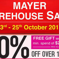Read more about Mayer Warehouse Sale 23 - 25 Oct 2015