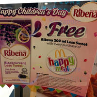 Read more about McDonald's Free Ribena With Happy Meal Purchase 8 - 11 Oct 2015