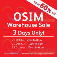 Read more about OSIM Warehouse Sale Up To 60% Off 23 - 25 Oct 2015