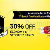 Scoot 30% Off Fares For UOB Cardmembers 25 - 26 Nov 2015