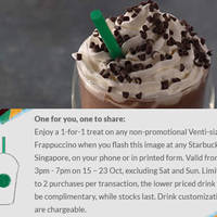 Read more about Starbucks 1-for-1 Frappuccino Coupon Promotion 15 - 23 Oct 2015