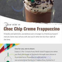 Starbucks 1-for-1 Frappuccino Coupon Promotion 8 - 14 Oct 2015