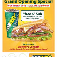 Subway Buy 1 Get 1 Free (1-For-1) @ Claymore Connect 9 Oct 2015