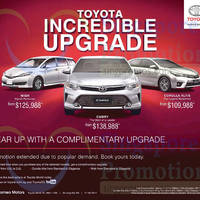 Toyota Wish, Camry & Corolla Altis Offers 10 Oct 2015