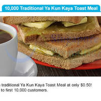 Ya Kun Kaya Toast 50 Cents Traditional Meal For Singtel Customers 8 - 21 Oct 2015