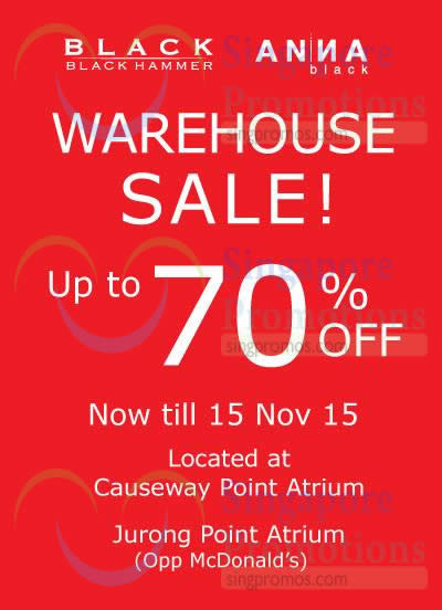 11 Nov Black Hammer Warehouse Sale