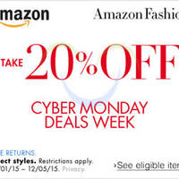 Read more about Amazon.com 20% OFF Fashion, Shoes, Jewellery & More (NO Min Spend) Cyber Monday Coupon Code 1 - 6 Dec 2015