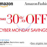 Amazon.com 30% OFF Fashion, Shoes, Jewellery & More (NO Min Spend) Cyber Monday Coupon Code 30 Nov - 1 Dec 2015