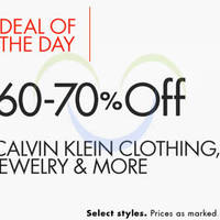 Read more about Calvin Klein 60% to 70% Off Clothing, Jewellery & More 24hr Promo 2 - 3 Nov 2015