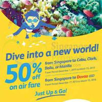 Read more about Cebu Pacific Air 50% Off Fares 13 - 15 Nov 2015