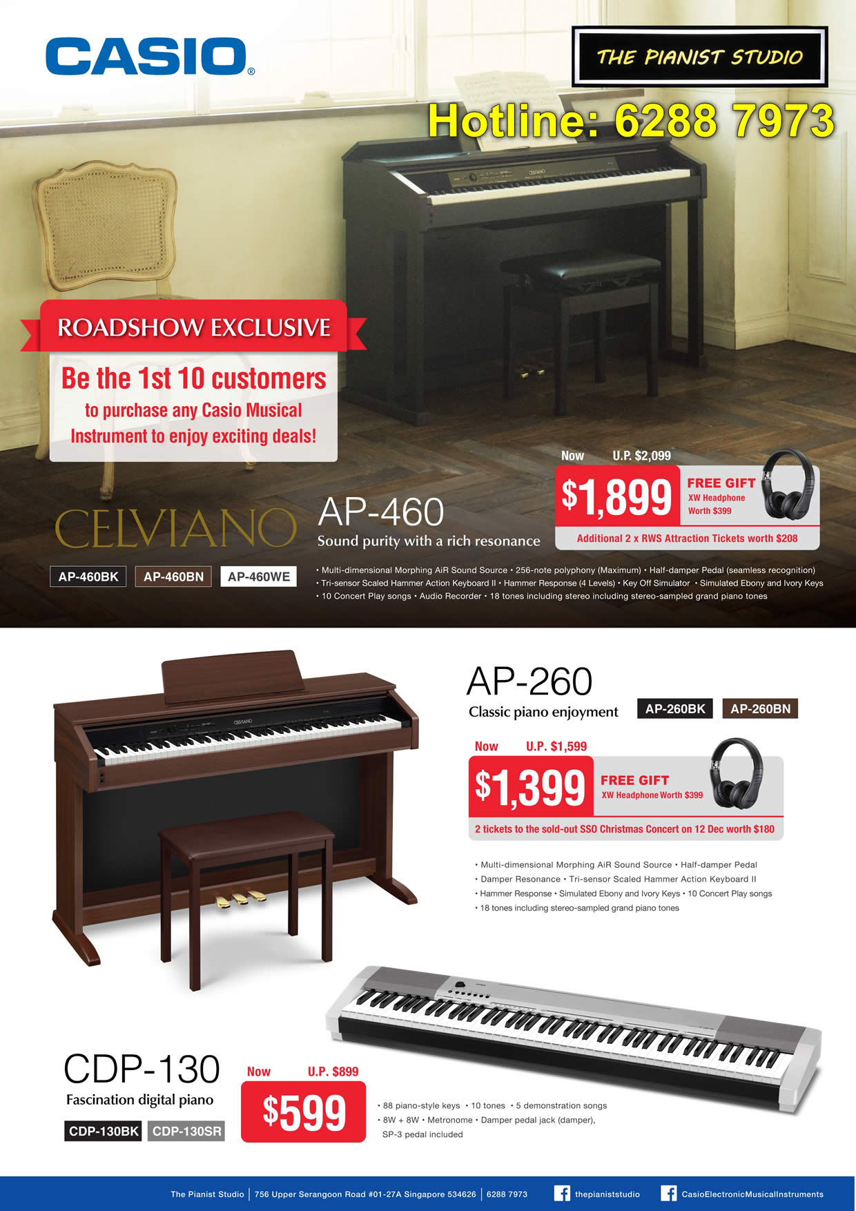Celviano, AP-460, AP-260 Classic Piano Enjoyment, CDP-130 Fascination Digital Piano