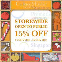 Read more about Crabtree & Evelyn 15% Off Storewide Promotion 14 - 15 Nov 2015