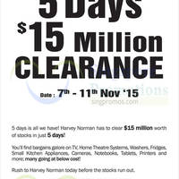 Read more about Harvey Norman 5 Days $15 Million Clearance 7 - 11 Nov 2015