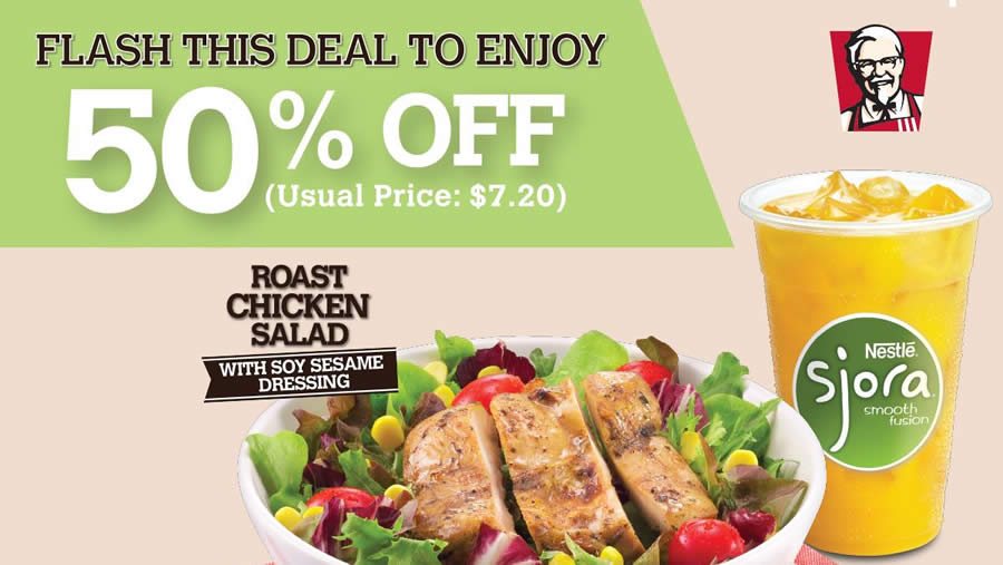 KFC 50% Off Roast Chicken Salad Meal Coupon From 2 Nov 2015