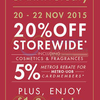 Read more about Metro 20% Off Storewide Promotion @ Centrepoint 20 - 22 Nov 2015