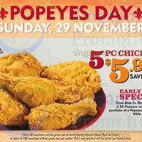 Read more about Popeyes $5.90 5pcs Chicken One Day Promo 29 Nov 2015