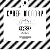 Robinsons $30 Off w/ Spend $150 Cyber Monday Promo 30 Nov 2015