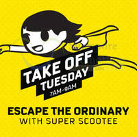 Scoot Take Off Tuesday fr $9 2hr Promo Fares (7am to 9am) 1 Dec 2015