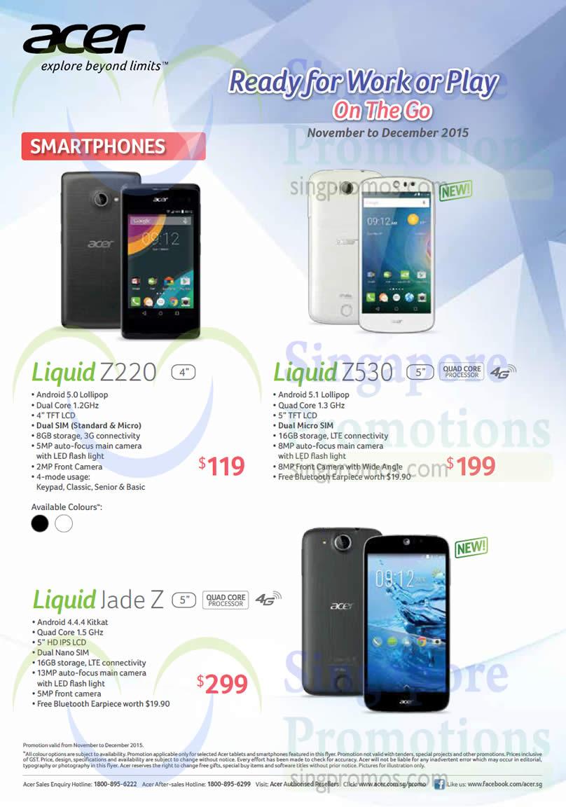 Acer Liquid Z220 Smartphone, Acer Liquid Z530 Smartphone, Acer Liquid Jade Z Smartphone