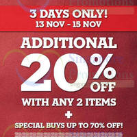 Read more about Timberland 20% Off With 2 Items @ Outlet Stores 13 - 15 Nov 2015
