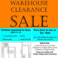Read more about Kidspiration Boys Apparel Warehouse Clearance Sale 11 Dec 2015 - 8 Jan 2016
