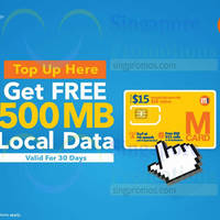 Read more about M1 Prepaid Topup & Get Free 500MB Local Data 9 Dec 2015 - 29 Feb 2016
