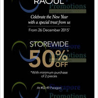 Read more about Raoul 50% Off Storewide @ Paragon From 26 Dec 2015