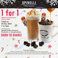Read more about Spinelli Coffee Company 1-for-1 Butterscotch Brownie Latte or Spin (1pm to 3pm) 4 Dec 2015