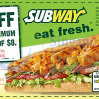 Read more about Subway $1 off $8 Spend Coupon @ Selected Outlets 8 Dec 2015 - 15 Jan 2016
