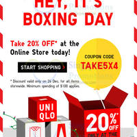Read more about Uniqlo 20% OFF Storewide 1-Day Boxing Day Coupon Code 26 Dec 2015