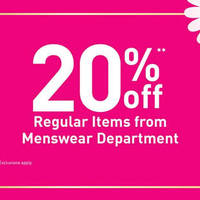 Read more about BHG 20% Off Menswear Promotion 20 Jan - 7 Feb 2016