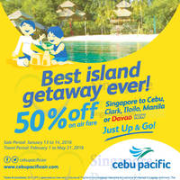 Read more about Cebu Pacific Air 50% Off Fares 13 - 14 Jan 2016