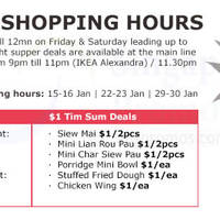 Read more about IKEA Extended Opening Hours & $1 Late Night Supper Deals (Fri & Sat) 15 - 30 Jan 2016