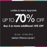 Read more about Isetan Ladies & Mens Apparels Bazaar Sale @ Wisma Atria 25 Jan - 15 Feb 2016