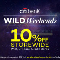 Read more about Lazada 10% Off Storewide Wild Weekends With Citibank Cards (NO Min Spend) from 23 Jan - 31 Dec 2016