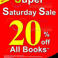Read more about MPH Bookstores 20% OFF Storewide Promo @ Robinson Road (Saturdays) 16 - 30 Jan 2016