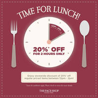 Read more about The Face Shop 20% Off Lunch Hour Special @ Selected Outlets 25 - 29 Jan 2016