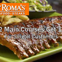 Read more about Tony Roma's Free Main Course w/ Two Main Courses Purchase (Singtel Customers) 2 Jan - 31 Mar 2016