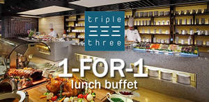 Triple Three: 1-for-1 lunch buffet with DBS/POSB cards! Valid till 31 Mar 2018